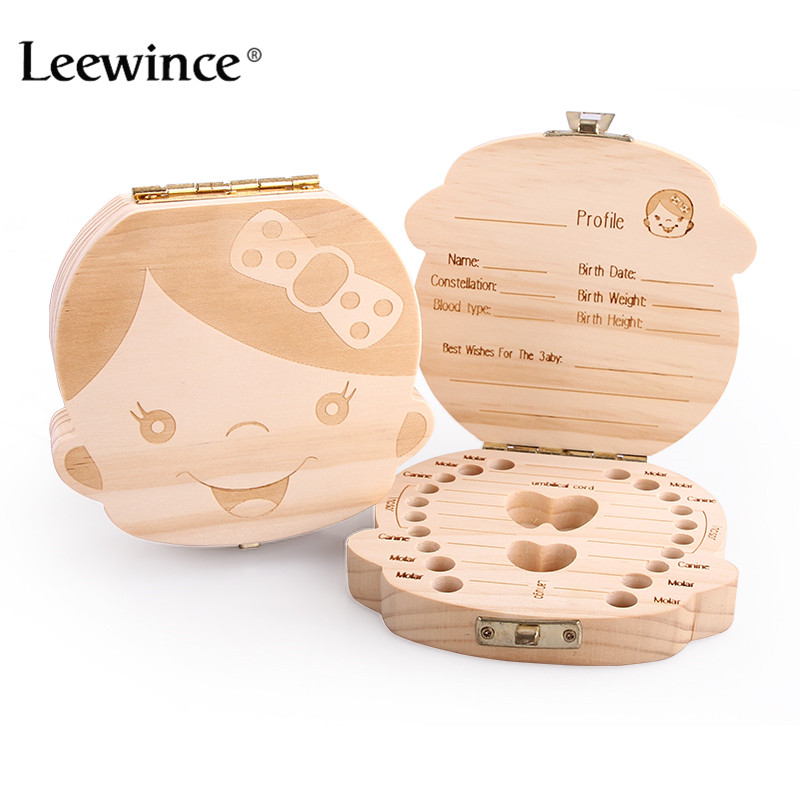 Leewince Tooth Box organizer for baby save Milk teeth Wood storage box great gifts 3-6Years creative for kids Boy and Girl image(China (Mainland))