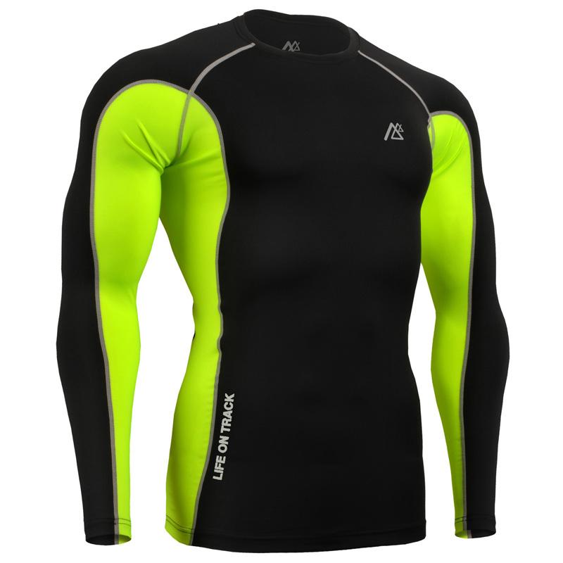 super elastic mens compression t shirt bright color long