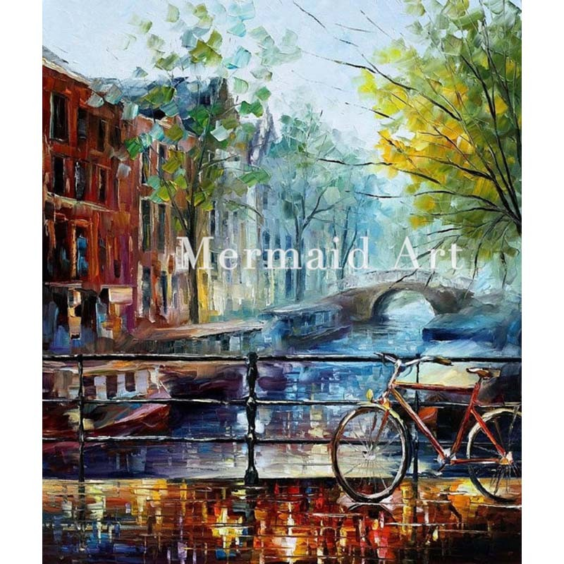 Buy Hand Painted Landscape Abstract Baja California Seascape Palette Knife Modern Oil Painting Canvas Wall Living Room Artwork Fine cheap