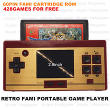 Retro 8bit Dendy Portable Handheld Game player with 428in1 games for free/play 60P game cartridge JP version/TV out/2.8inch LCD(China (Mainland))