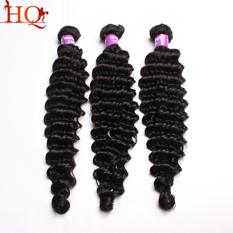 Deep wave virgin hair Filipino human hair extensions 3PCS virgin human hair weaves deep curly wave natural hair free shipping
