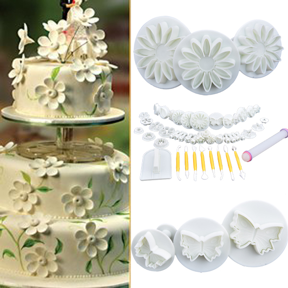 46pcs Christmas Cooking Tools Cake Tools Sets Mixed Fondant Plunger Cutters Tools For Fondant Cake Decoration b23 SV009933(China (Mainland))