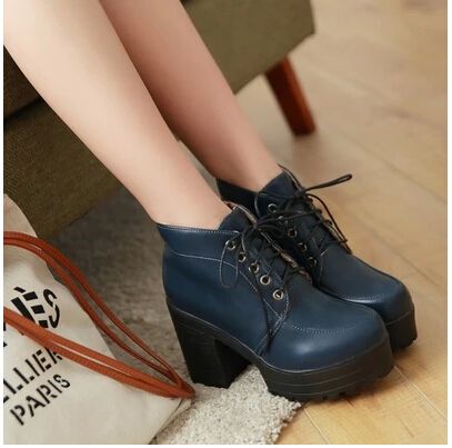 2015 Women sexy platform high-heeled shoes female autumn and winter lacing martin boots thick heel ankle boots