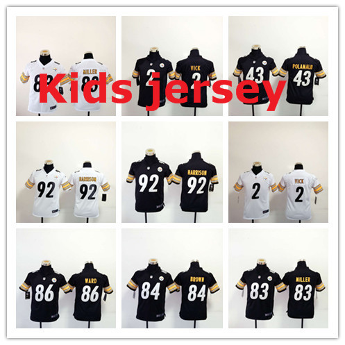 Kids youth Free fast shipping Best Quality Pittsburgh Steelers children 32 Franco Harris 83 Heath Miller 84 Antonio Brown(China (Mainland))
