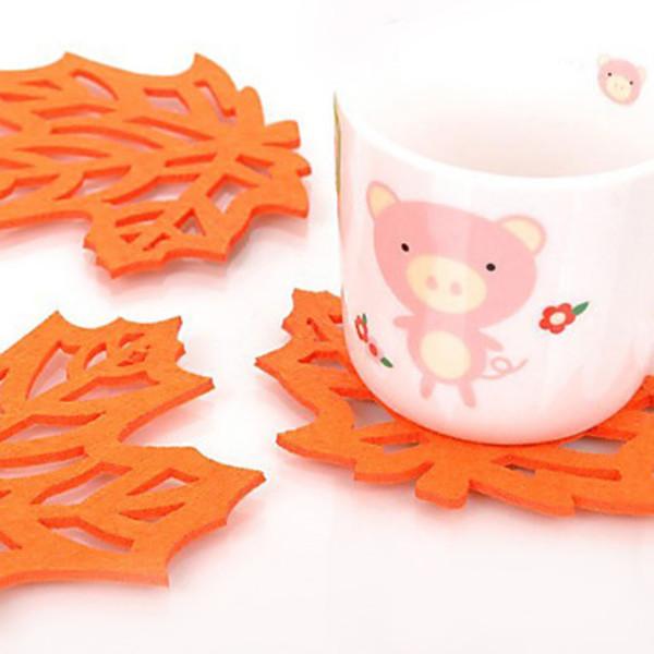 Newway Maple Shaped Felt Coaster Cup Mat (Random Color)(China (Mainland))