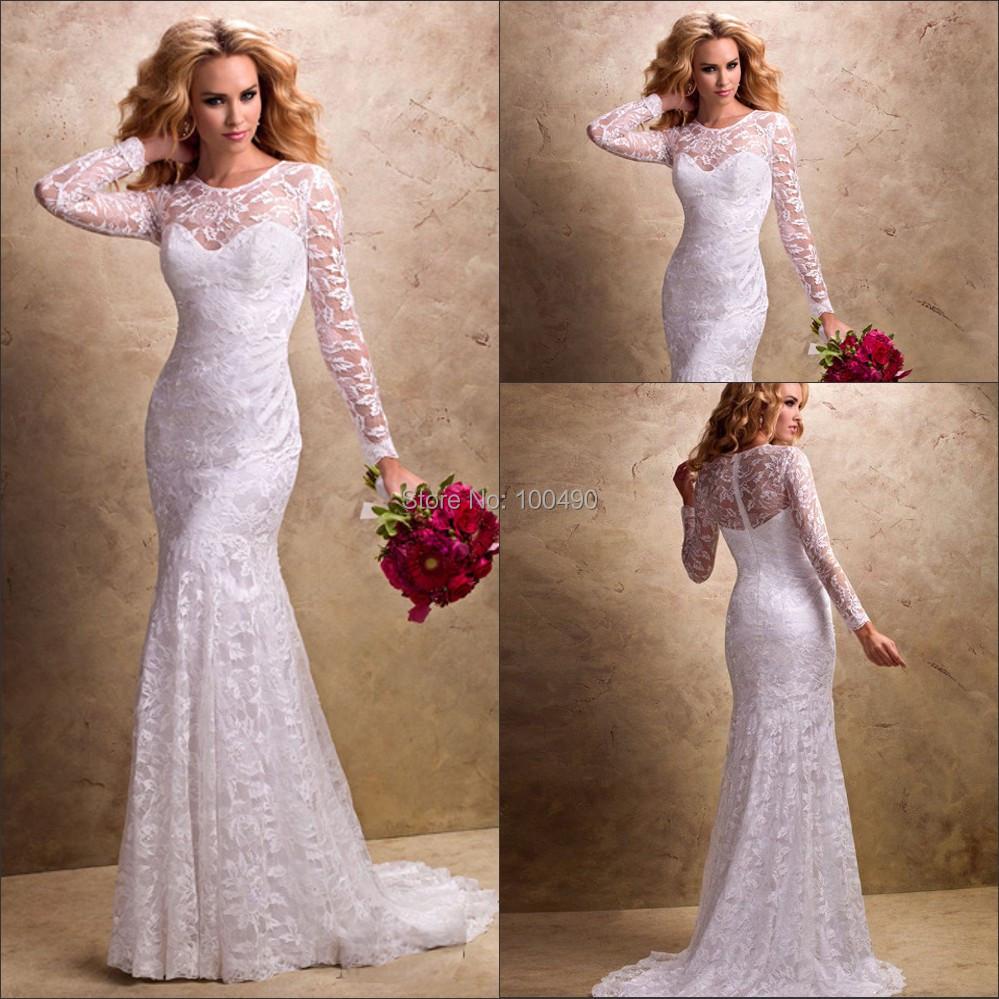 Beautiful slim lace long sleeves chapel train wedding for Long sleeve slim wedding dresses