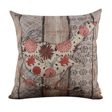 Vintage Wood Slat Red Bird Burlap Cushion Cover Throw Pillowcase