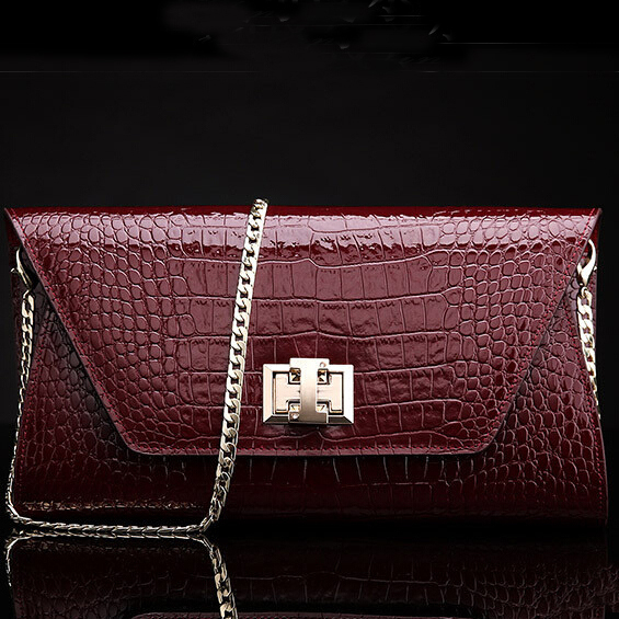 Top Grade 100% GENUINE Patent LEATHER Women Multi Functional Lucury Evening Cluth Handbags ZB0230(China (Mainland))