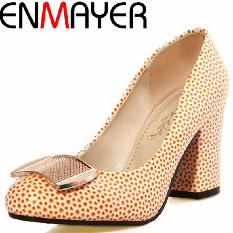 ENMAYER Spring shoes Women fashion  women pumps Ladies Mid heels Thick heel Platform pumps Fashion Cool hot