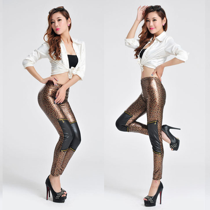 2016 Special Offer Summer Style Girls Leopard Print Leggings For Women Good Quality Shiny PU Capris Leggins Free Shipping JQ5010(China (Mainland))
