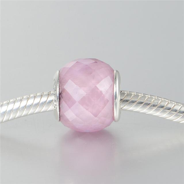 Темы тэал грановитая муранского стекла бусины чистый 925-Sterling-Silver розовый CZ камни бусины подходит пандора браслет DIY ювелирных