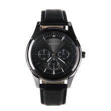 2015 de lujo elegante men ' s reloj de marca famosa de acero inoxidable reloj de pulsera de cuero moda reloj analógico de cuarzo libera el envío