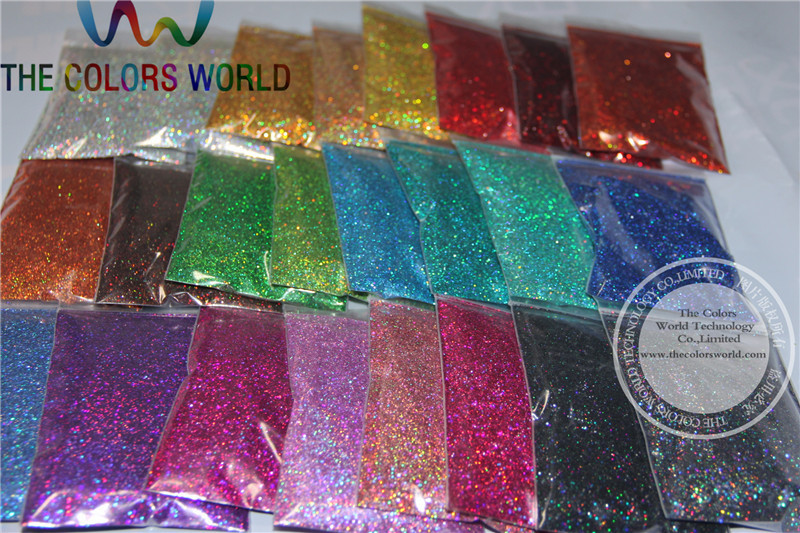 0.4MM 24 Holographic Laser glitter colors dust for nail tattoo,nail polish Art or other DIY decoration(China (Mainland))