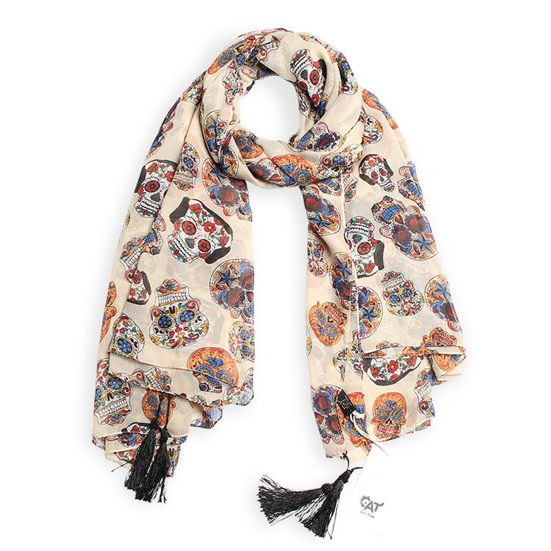 Multicolor skull print chiffon silk scarf with tassel women female summer large beach towel scarves lencos de seda high quality(China (Mainland))