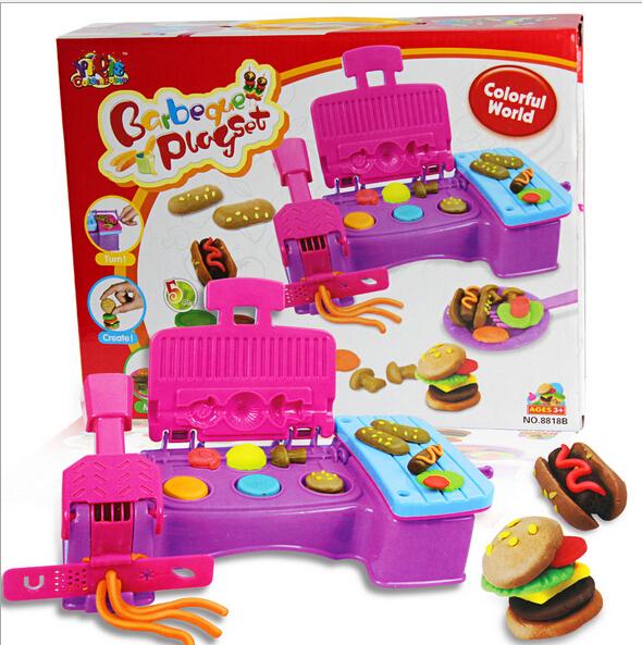 free shipping Creative DIY 3D Play Dough toy Plasticine extrusion mould machine hamburger kit Educational kids toys(China (Mainland))