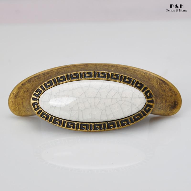P&H Hardware Handle Home Antique Furniture Handles Kitchen Cabinet Handles Ceramic Door Knobs Crack Drawer Pulls In Type A3(China (Mainland))