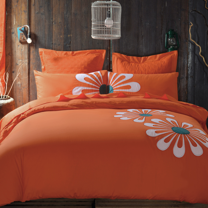 100% Cotton European Style Modern Bedding Sets Orange Flower Printed Queen/King Size Bed Linen Bed Sheet Duvet Cover Set(China (Mainland))