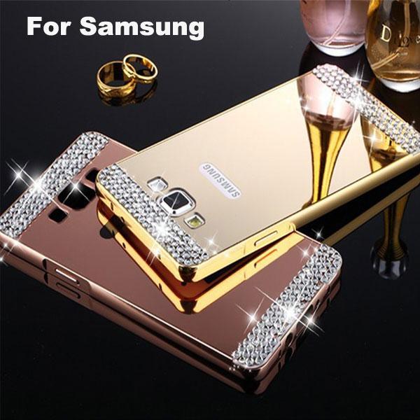 Luxury Aluminum Metal Mirror Plating Hard Back Cover Samsung Galaxy A3 A5 A7 J1 J2 J3 J5 J7 2016 A8 S6 S7 edge Diamond Case  -  ShenZhen YiHao Digital Co., Ltd. store