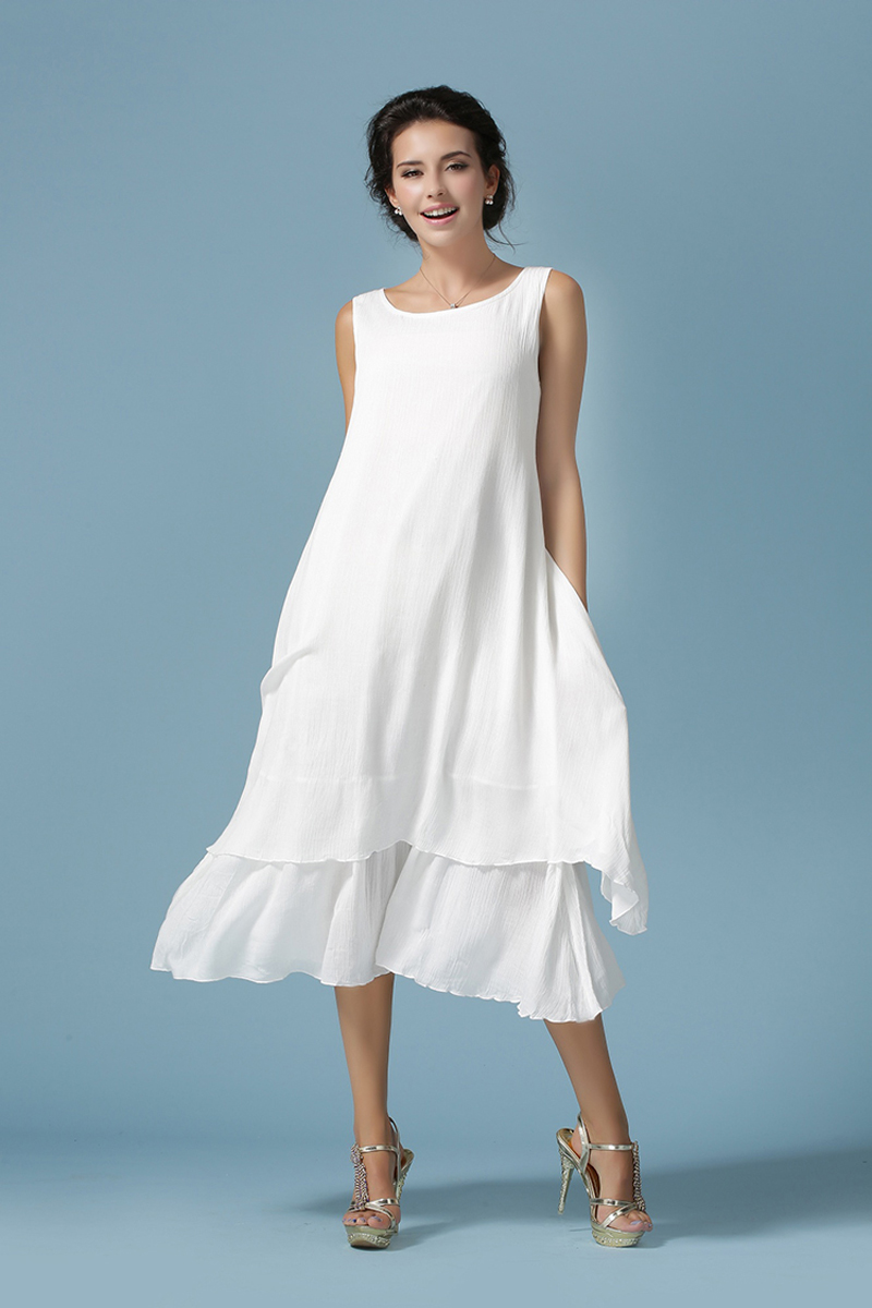 2016 womens casual white dresses slim soft cotton linen