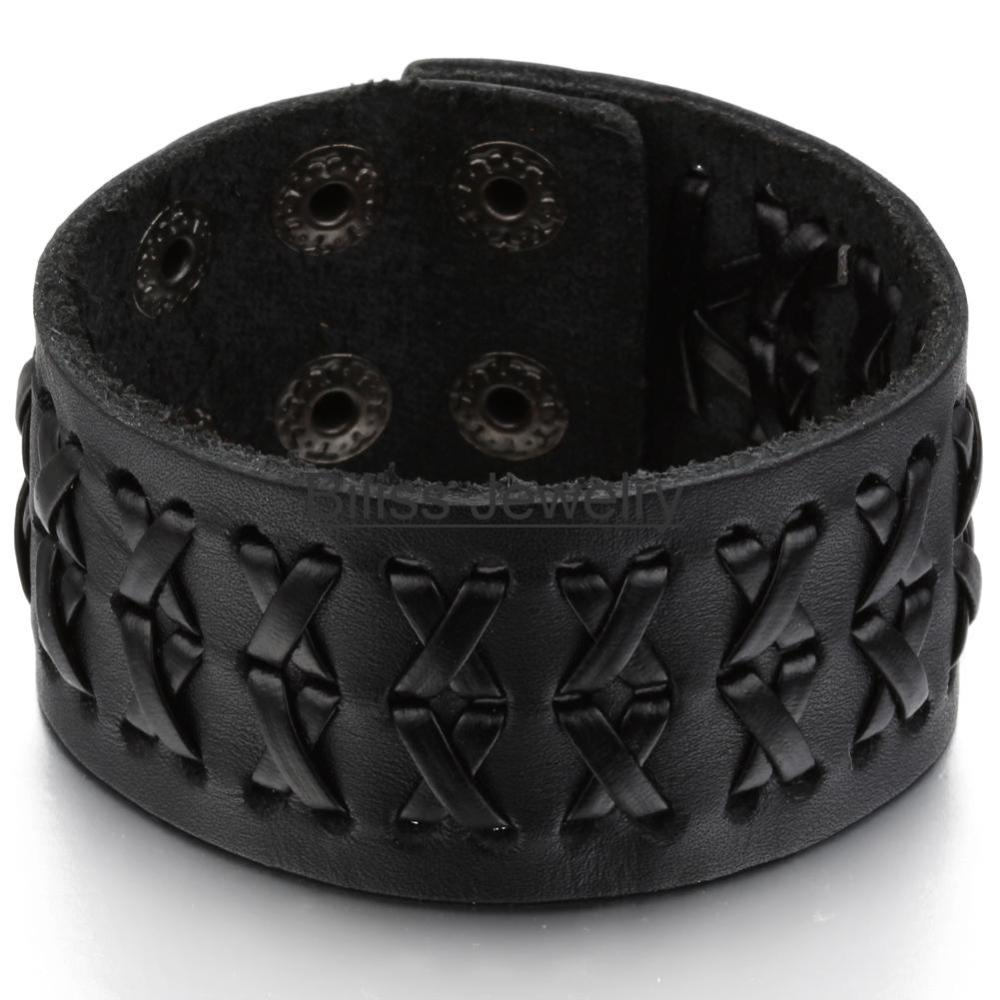 2015 Promotion Fashion Wide Genuine Brown / black leather bracelet Braided Women Mens wrap Bangle Size Adjustable(China (Mainland))