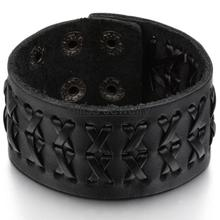 2015 Promotion Fashion Wide Genuine Brown / black leather bracelet Braided Women Mens wrap Bangle Size Adjustable (China (Mainland))