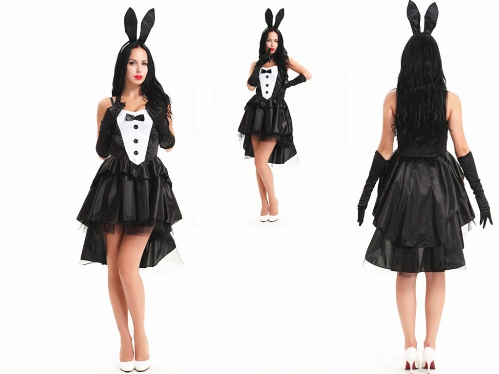 FREE SHIPPING zt 8179 Tuxedo Tail Black & White Bunny tutu Costume Fancy Dress Easter Bunny Costume(China (Mainland))