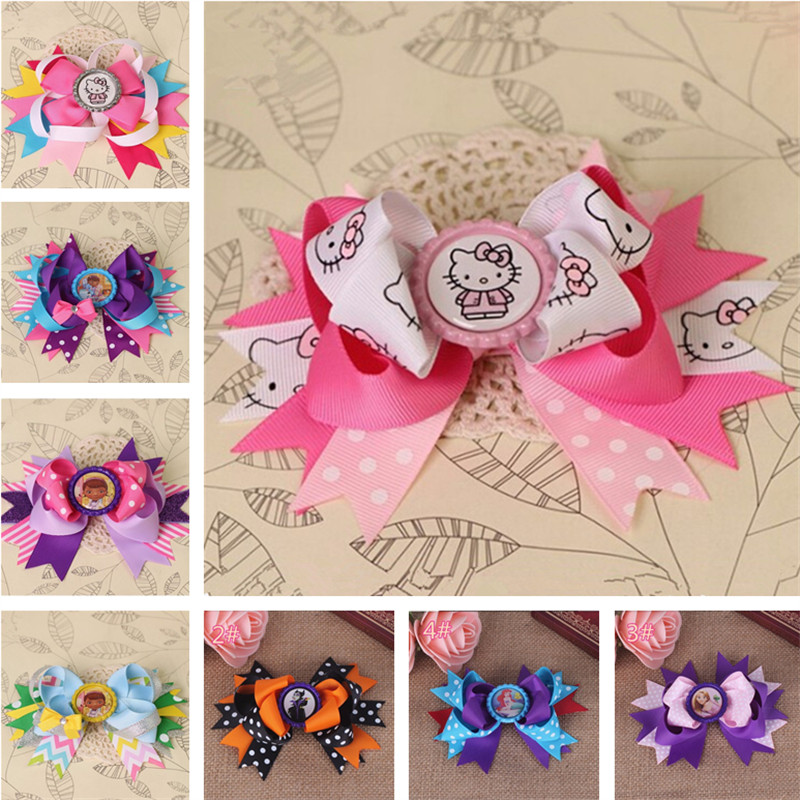 flowers hairpin bows minnie barrette hello Kitty hairpins baby hair clips for girls ribbon bows accessories pince cheveux YiWu*(China (Mainland))