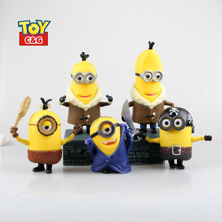 5pcs  set 11 19cm cute minions stuart  dave  tim despicable me movie film pvc figurine toys model