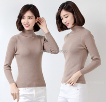 Turtleneck Sweater Female Pullover Autumn and Winter  Basic  Thickening Slim  Women's Cashmere Wool Blend(China (Mainland))