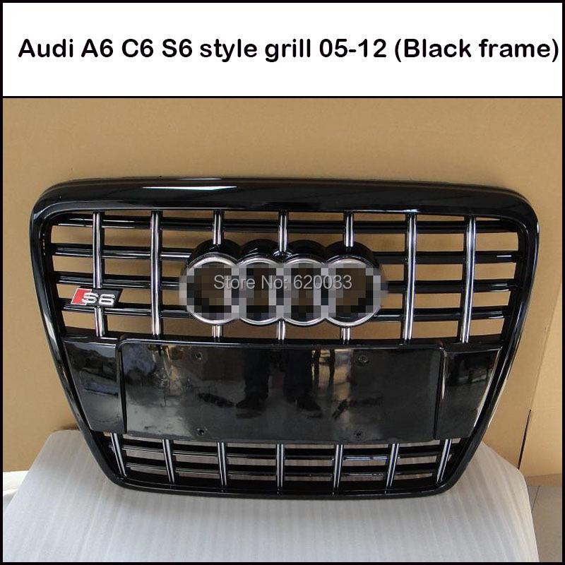 Hot Sale Front Bumper Grille Honeycomb for A6 C6 S6 Mesh Girll 2005-2012 (Black painted black frame with chrome emblem)(China (Mainland))