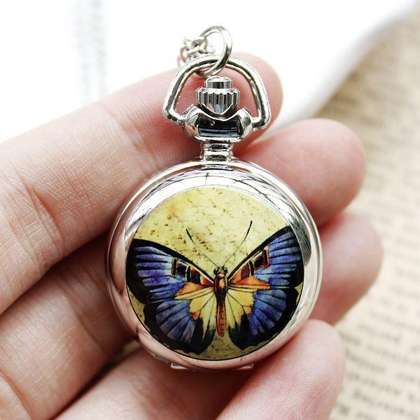 100pcs/lot Manufacturers Selling Fashion Small Enamel Yellow Purple Butterfly Pocket Watch Necklace Relogio Bulova(China (Mainland))