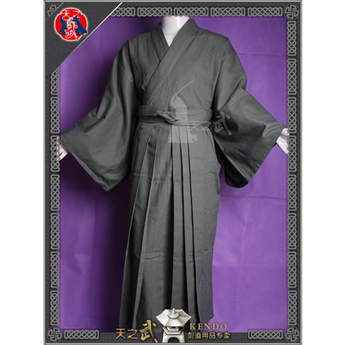 [day] Wu Kendo traditional Samurai suit /8800# grey cotton - Kendo equipment<br>