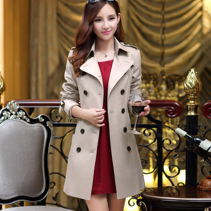 M-3XL 2015 Spring New Trench Coat Ladies Temperament Slim Thin Double-breasted Long Trench Coat Plus Size Women Clothing DM2592