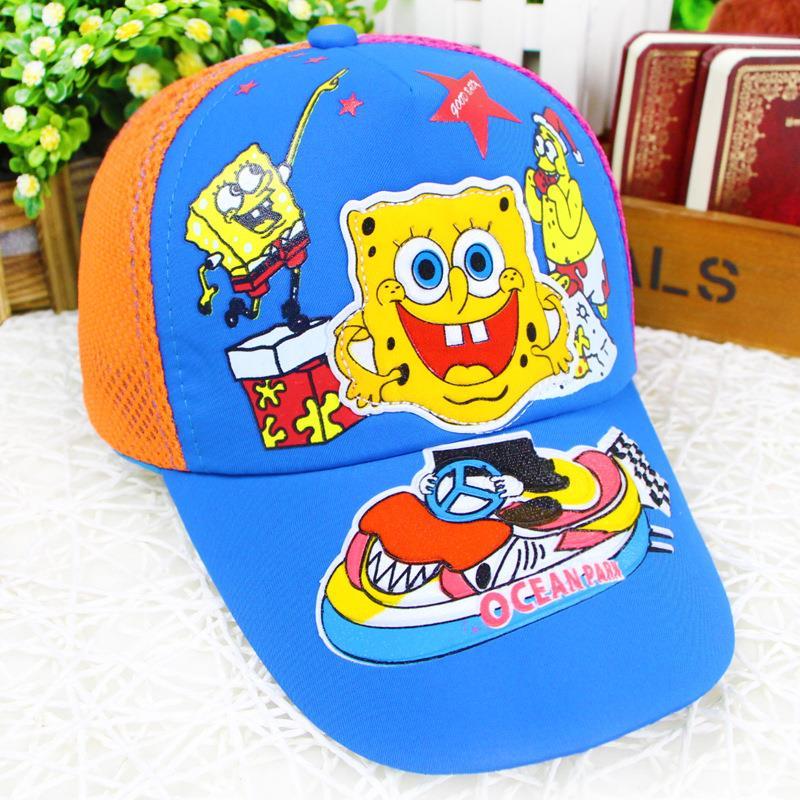 Racing SpongeBob child outdoor summer sun hat baseball cap new baby cap wholesale Cartoon Network(China (Mainland))
