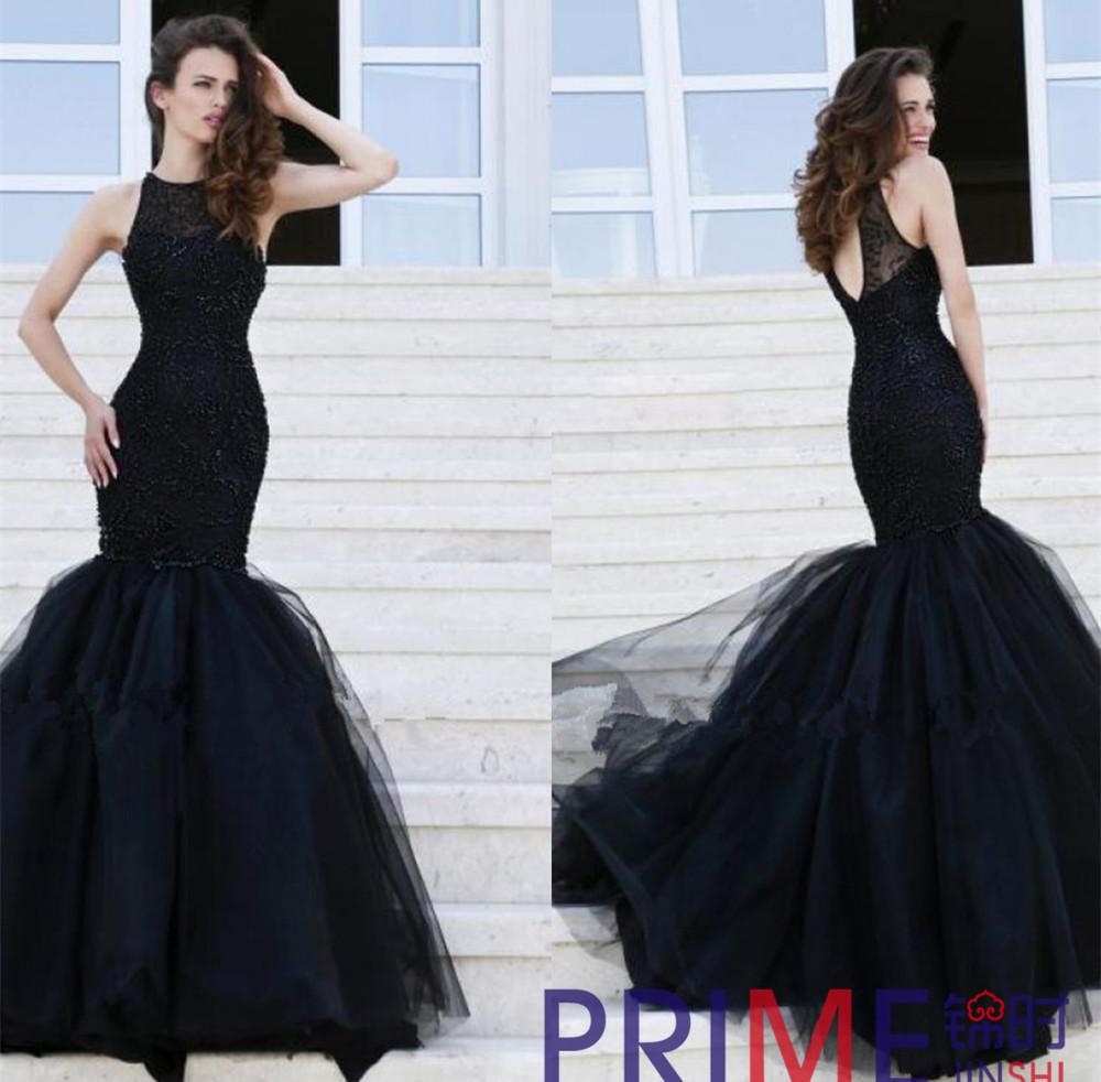 Long black lace dress plus size