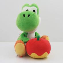 "Cute Yoshi with Apple Plush Doll Toy 6.5"" 17cm Super mario yoshi plush toy Christmas Gift Free Shipping(China (Mainland))"