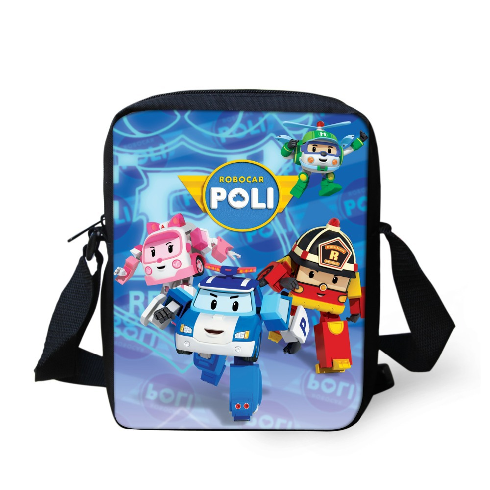 New Fashion Children Cartoon School Bags For Boys 3D Robocar Poli Doll Schoolbag Girls Students Book Bag Kids Mochila Infantil(China (Mainland))