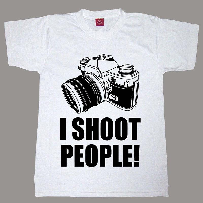 New Design t shirt I Shoot People T-Shirt Funny Photographer TEE Camera Photography tshirt For Men Women Can Oem/diy Logo(China (Mainland))
