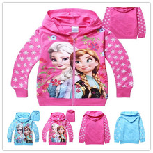 New Fashion 2014 Baby Girls Autumn Winter Frozen Hoodies Girl's Frozen Cotton Hoodie 3D Printer Coat Free Shipping(China (Mainland))