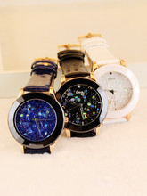 Guou brand starry sky design rhinestone crystal ceramic big dial watch with leather strap fashion watch