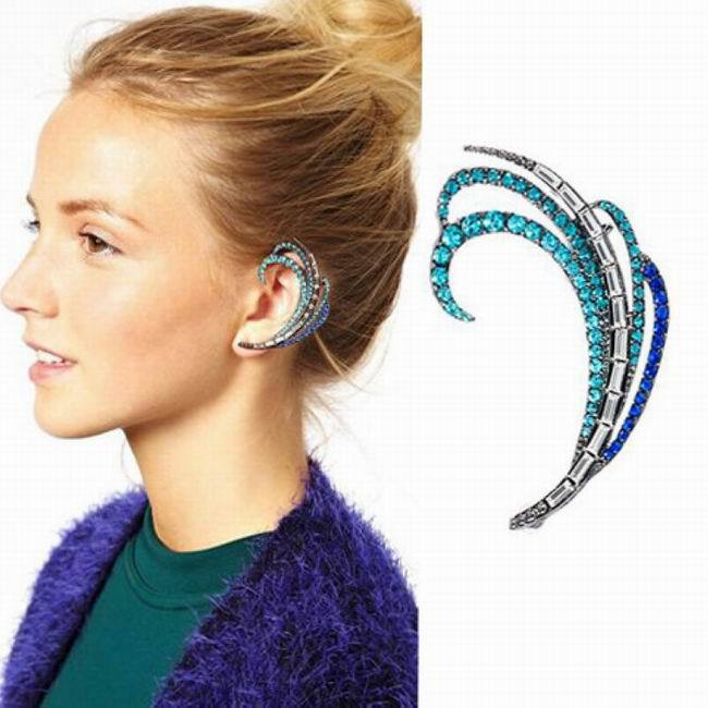 new fashion unique vintage crystal peacock feather ear. Black Bedroom Furniture Sets. Home Design Ideas