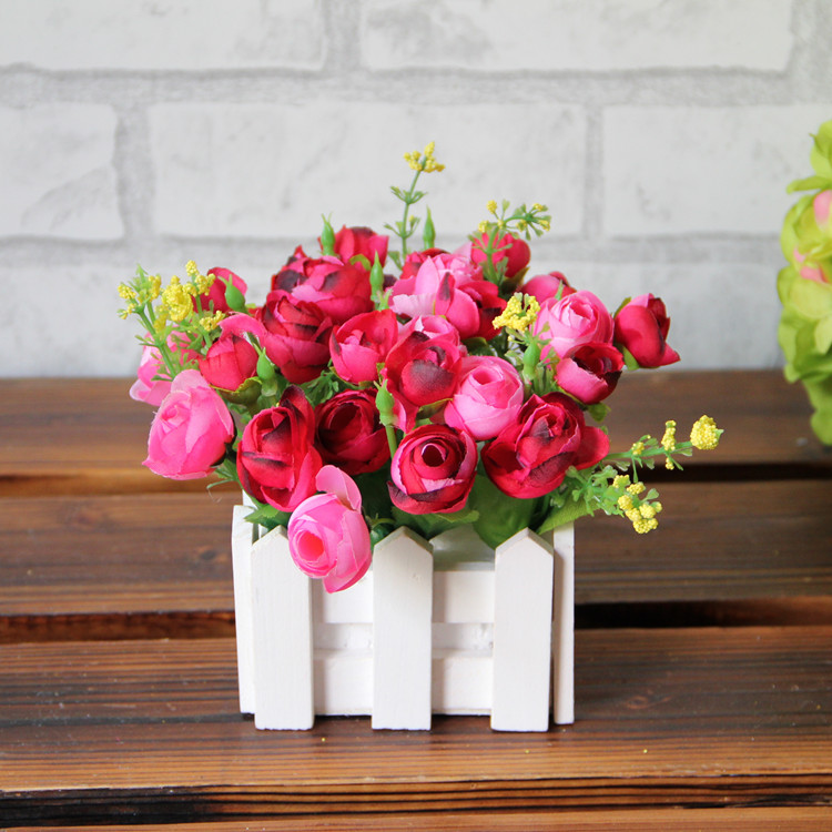 Free Shipping Artificial Rose Flower Set Wood Fence Fake Silk Flowers Home Decoration Wholesale