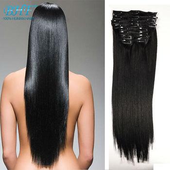 Клип в Расширениях Человеческих Волос 100 г Натуральные Волосы Клип Расширения Человеческих Волос 10 Шт. 100% Человеческих Зажим Для Волос ins