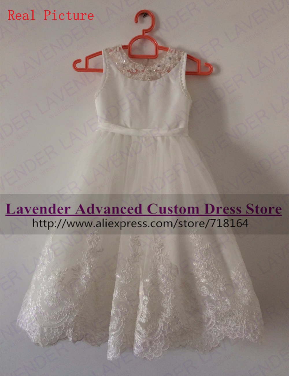 White ivory long flower girl dress open back holy communion dress girls pageant evening gowns vestido