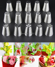 Wholesale 10 Sets(15 Pcs/set) Stainless Steel Russian Tulip Icing Piping Nozzles Fondant Cake Decoration Decorating Tips Tools(China (Mainland))