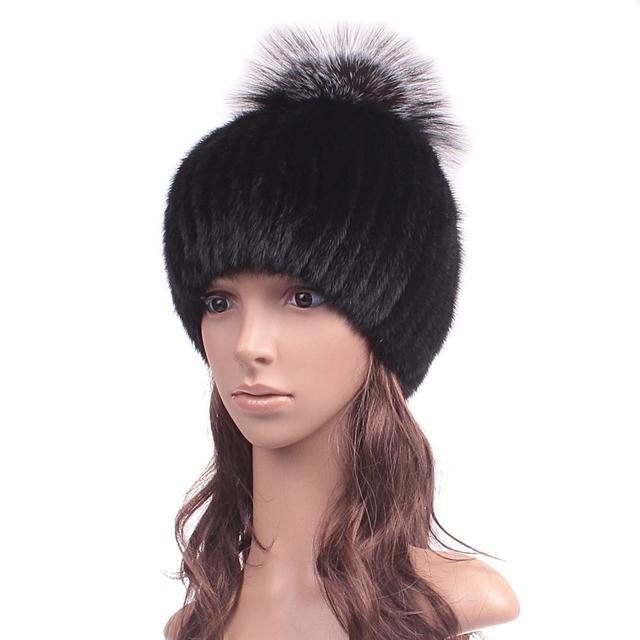 Натуральный мех норки шляпа колпачок с фокс МехPom англичане роскошные трикотажные ...