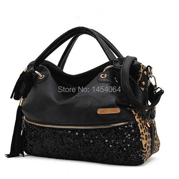Fashion	New Hotsale 2014 casual leopard print women handbag paillette lady shoulder bags messenger - home&garden tool store