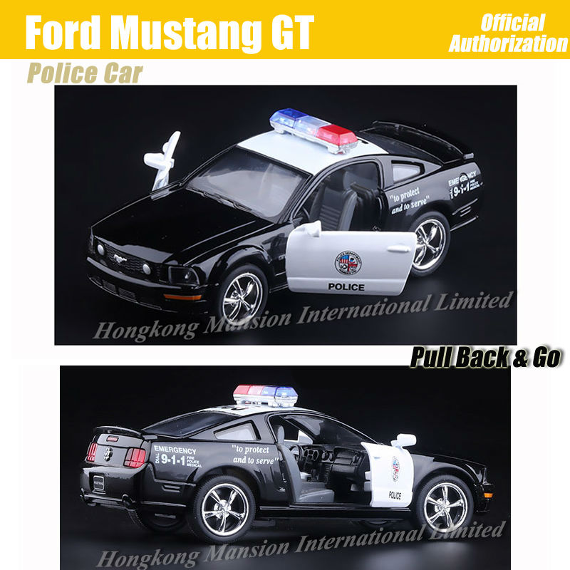 1:36 Scale Alloy Metal Diecast ForPolice Car Model For Ford Mustang GT Collection Model Pull Back Toys Car - Black(China (Mainland))