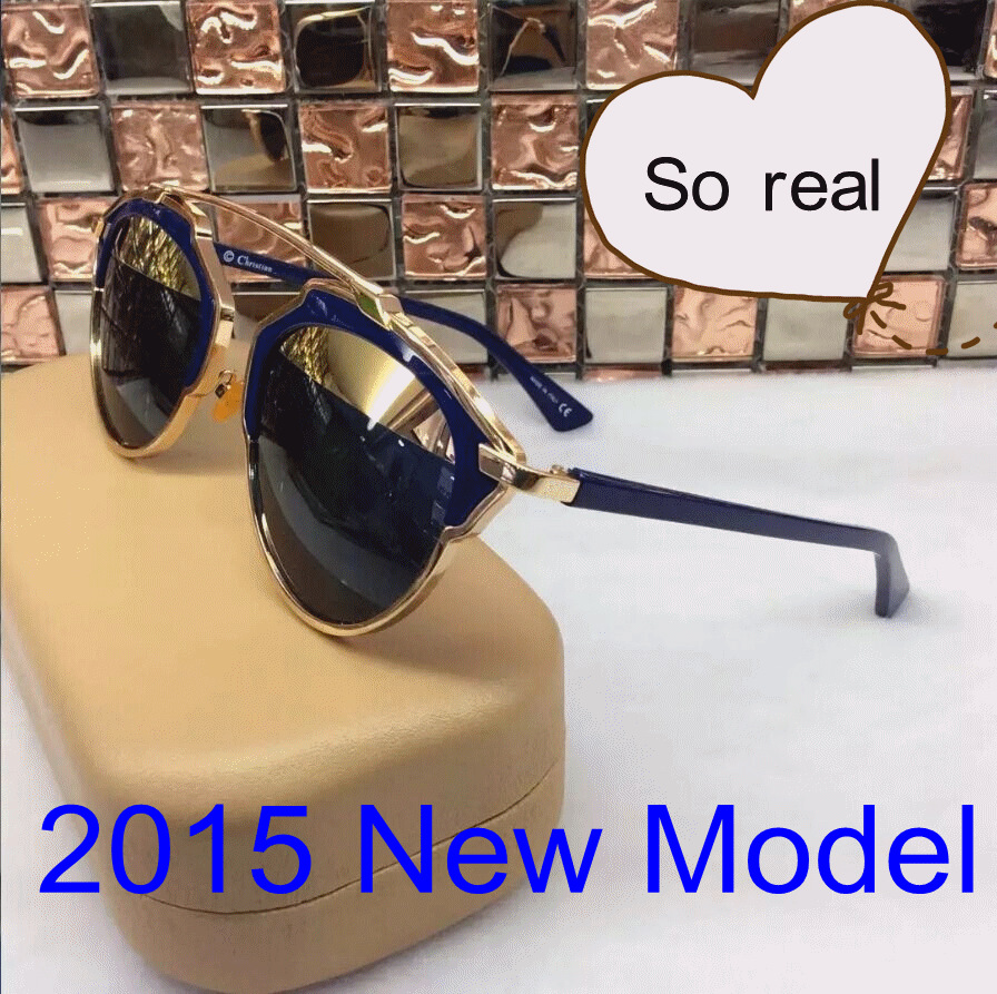 Hot Style New Arrival Gold Blue CD Sunglasses SO REAL Girl Sunglasses women brand designer SO SURREAL Reflected Eyewear(China (Mainland))