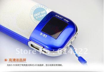 Digital portable Speaker /Micro SD TF USB Mini Speaker Music box Stereo MP3 Player/ FM Radio with LED screen S93